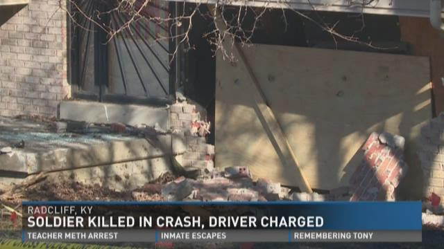 Soldier killed in crash, driver charged