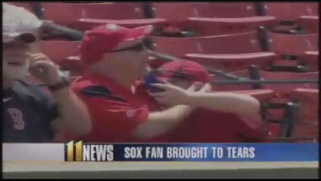Red Sox fan overcome with emotion after being presented with baseball