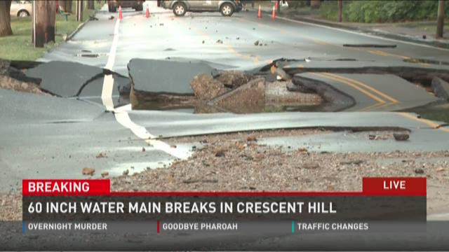 Video | 60 inch water main breaks in Crescent Hill