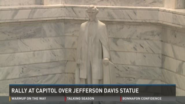 Rally at Capitol over Jefferson Davis statue