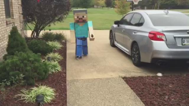 Brian Groves' Minecraft Steve costume